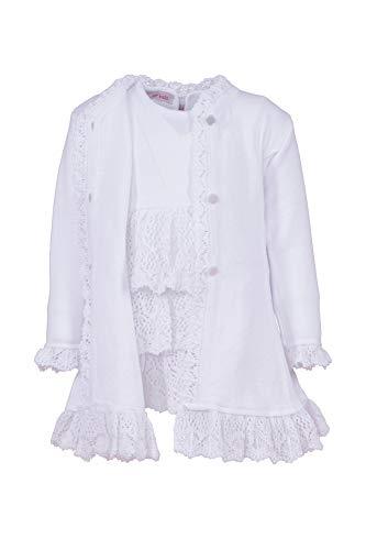 Cocolina Strickkleid Taufkleid mit Mantel und Mütze Taufset in weiß (74)