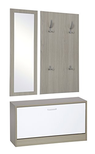 ts-ideen 3er Set Garderobe Spiegel Schuhkipper Schuhschrank Sitzbank in Eichenholzoptik