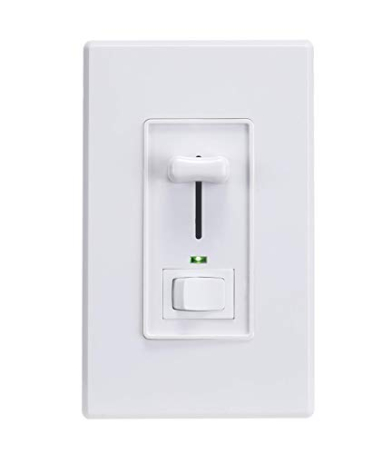 Cloudy Bay in Wall Dimmer Switch with Green Indicator,for LED Light/CFL/Incandescent,3-Way Single Pole Dimmable Slide,600 Watt max,Cover Plate Included,White