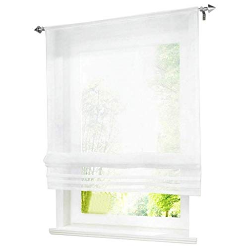 ESLIR Raffrollo Küche Raffgardine mit Tunnelzug Bändchenrollo Weiß Voile Gardinen Transparent Weiß BxH 100x155cm 1 Stück