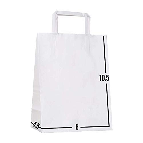 [100 Pcs. 8 X 4.5 X 10.5]- Kraft Paper Gift Bags Bulk with Flat Handles. Ideal for Shopping, Packaging, Retail, Party, Craft, Gifts, Wedding, Recycled, Business, Goody and Merchandise Bag (White)