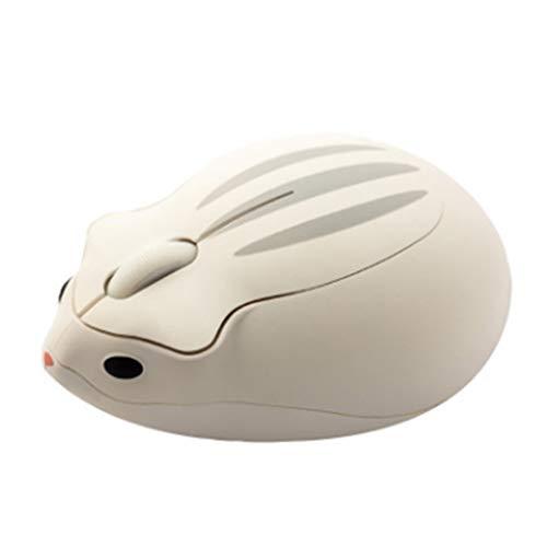 Ratón óptico inalámbrico de 2,4 G, diseño de hámster, diseño de dibujos animados, ergonómico y mini ratón de oficina para niños y niñas