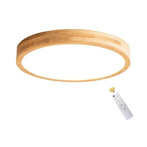 VOMI Holz LED Deckenleuchte Dimmbar Fernbedienung Deckenlampe Beleuchtung Deko, Schlafzimmerlampe Modern Runde Holzlampe Decke Lampe Acryl-Schirm Schlafzimmer Deckenbeleuchtung 18W