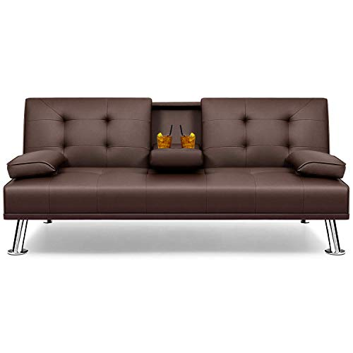 Flamaker Futon Sofa Bed Modern Faux Leather Couch, Convertible Folding Recliner Lounge Futon Couch for Living Room with 2 Cup Holders with Armrest (Brown)