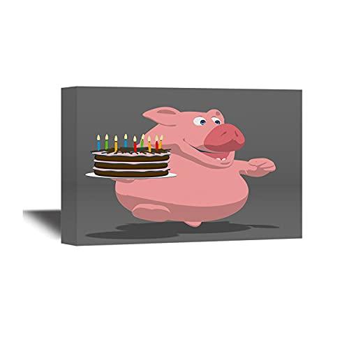 Lienzo decorativo para pared, diseño de pastel de cumpleaños de cerdo, con texto en inglés