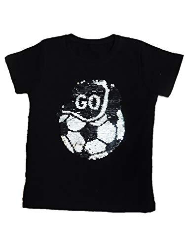 Jungen Kinder T Shirts mit Farbwechsel Pailletten Motiv Größe 86-164 (110-116 (7-8), Schwarz)