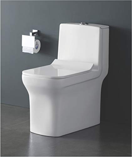 InArt Floor Mounted One Piece Water Closet Ceramic Western Toilet/European Commode Square with Soft Close Seat Cover for Lavatory Toilets (White, 64.5 x 36 x 75cm )