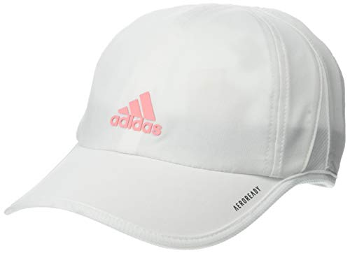 adidas Youth Kids-Boy's/Girl's / Superlite Relaxed Adjustable Performance Cap, White/Glory Pink, ONE SIZE