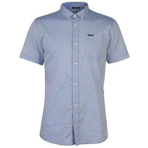 Firetrap Herren Kurzarm Oxford Shirt Freizeit Hemd Blau S