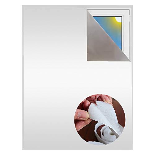 Verdunklungsstoff inkl. Selbstklebendem Klettband | Sonnenschutz zu 100% verdunkelnd | Folie mit Thermobeschichtung | Meterware für Fenster und Dachfenster lichtundurchlässig (Perlweiß mit Klettband)