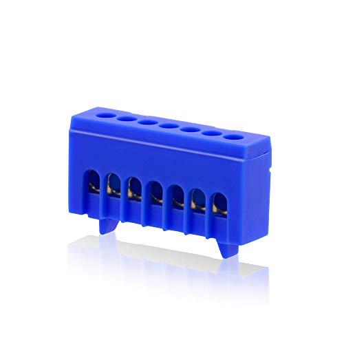 Isolierte Neutralklemme 7 polig blau für DIN-Schiene Hutschiene Verteilerkasten