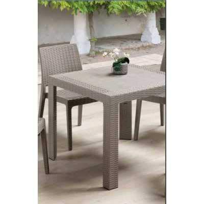 Europe Best Price Furniture Saturno Ratán–Mesa Cada Cuadrada 80X 80Símil Rattan de Exterior jardín Bar Restaurante Certificado para Uso Locales
