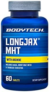 BodyTech LongJax MHT with Arginine Includes Maca, Horny Goat Weed, Tribulus Terrestris for Men's Health (60 Tablets)