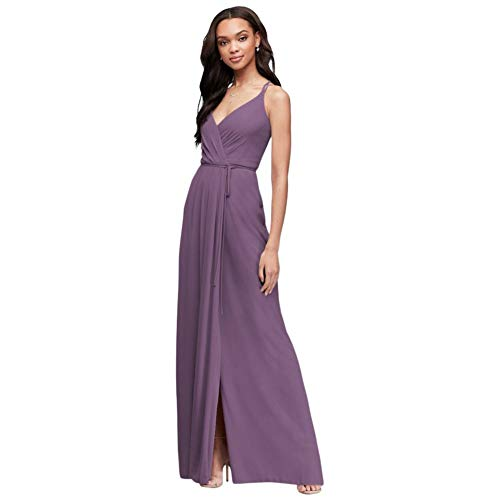 David's Bridal Double-Strap Long Georgette Bridesmaid Wrap Bridesmaid Dress Style F19755, Wisteria, 2