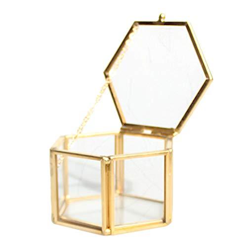 Baoblaze Hexagon Terrarium Container Töpfe Mini Glashaus für Pflanzen Schmuck Kerzen und DIY Handwerk - Golden, 8 x 6,8 x 4,5 cm