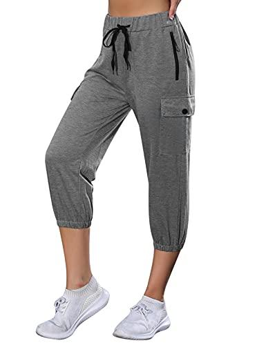 Wayleb 3/4 Pantalon Jogging Femme Pantalon de Sport...
