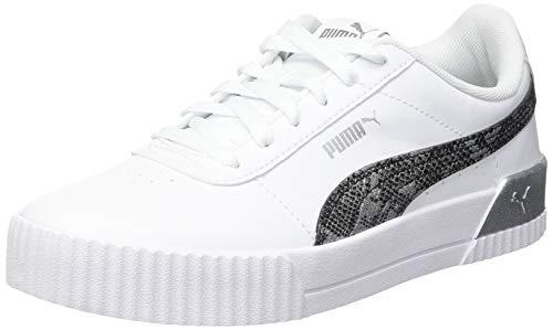 PUMA Damen Carina Untamed Sneaker, Weiß - Puma Weiß Puma Silber - Größe: 40.5 EU