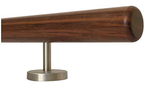 Nussbaum Geländer Handlauf Treppe Holz Griff gerade Edelstahlhalter, Länge 30-500 cm aus einem Stück/zum Beispiel Länge 40 cm mit 2 gerade Halter - Enden = Radius gefräst
