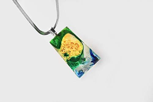 collar madera mujer colgante resina regalos para ella joyeria artesanal collar verde