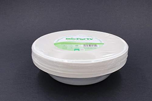 25 platos hondos resistentes de celulosa biodegradables y compostables, de Estados Unidos y de tirar en húmedo, ideales para fiestas y fiestas ecológicas.