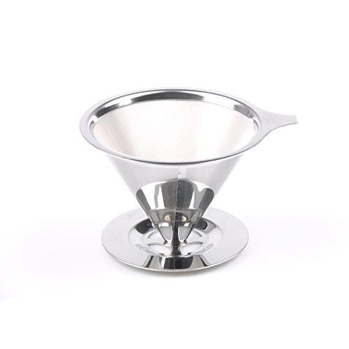 Pour Over Coffee Filter, Reusable Cone Mesh Coffee Dripper with Base Stand, 2-4 Cups for Home Travel stainless steel...