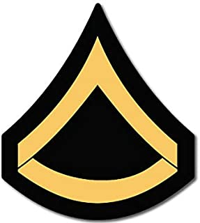 American Vinyl US Army Rank PFC Private First Class Chevron Shaped Sticker (SSI United States Military)