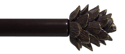 "Urbanest Pinecone Adjustable Window Treatement Single Curtain Rod, 48""-84"", Oil Rubbed Bronze (ORB)"