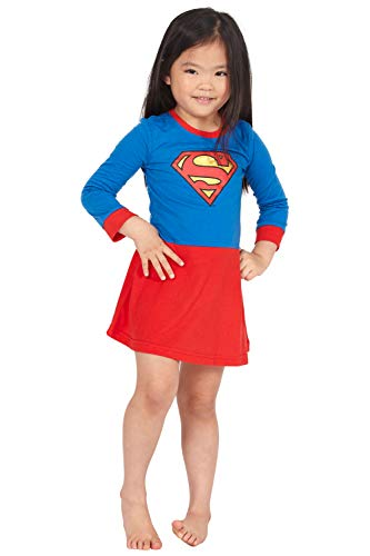 Supergirl Girls' Big Flyaway Superhero Costume Pajama Nightgown, Multi, 7/8