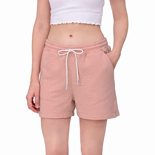 ONLEE Women's Regular Fit Casual Cotton Shorts Lounge, Breathable Comfortable Stretchy Gym Shorts, Deep Roomy Pockets & Modern Design for Outdoor Activities (L/Pink 26, M)
