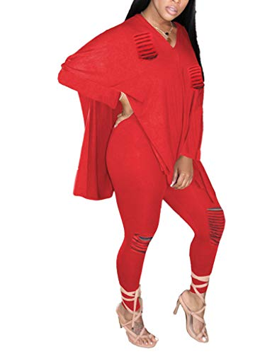 Women's Casual 2 Piece Outfits Solid Long Sleeve Frayed Hole V-Neck Split Top Bodycon Legging Pants Set Active Suit