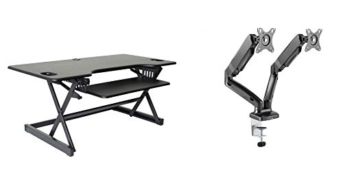 """Rocelco 46"""" Large Height Adjustable Standing Desk Converter and Height Adjustable Double Monitor Arm Bundle   Quick Sit Stand Up Monitor Riser   Retractable Keyboard Tray   Black (R DADRB-46 -R MA2)"""