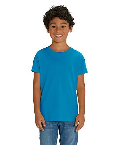 Hochwertiges unisex T-Shirt für Kinder aus 100{ed7805822e9c9d64f1b854b4e79d12dd8924d3c9fc6eec665f30cf6de4d1d992} Bio-Baumwolle, T-Shirt/Grösse:122/128, T-Shirt/Farbe:Azur Blau