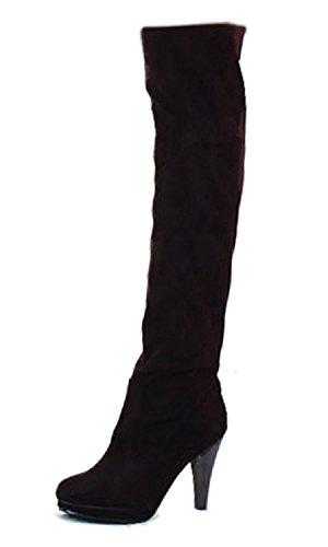 Minetom Sopra La Coscia al Ginocchio Stivali Piattaforma Tacco Alto Stivali a gamba alta col tacco Donna (Nero EU 38)