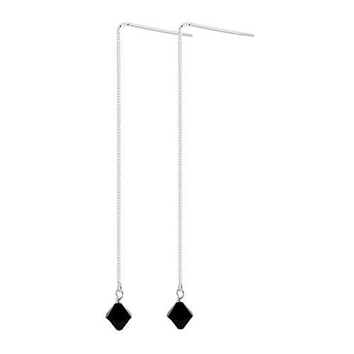 Sterling Silver Bicone Shape Threader String Swarovski Elements Black Crystal Handmade Earrings for Women