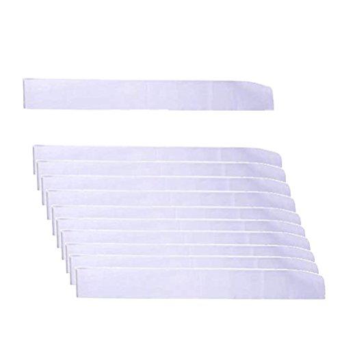 LIGONG 10 Pcs Blank Sashes Plain Sashes for Party Decoration, DIY Accessory, Homecoming, Wedding, 9.5cm x 78cm (White)
