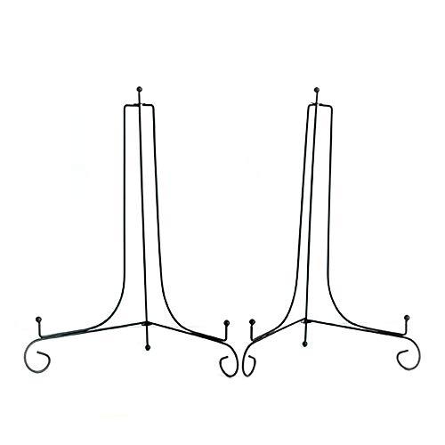 Kaizen Casa   Display-Ständer für Teller, Staffelei, Tellerhalter, Größe: 30,48 cm, 2 Stück, schwarz  Foto-Staffelei, Buchständer, gebogener schwarzer glänzender Organizer für Heimbüro-Dekoration.