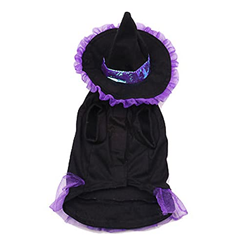 GoMDSA Disfraz de Halloween para mascotas, disfraz de Halloween para mascotas, capa de vampiro, capa con sombrero de bruja, fiesta de cachorro, cosplay, ropa, decoracin de gatito