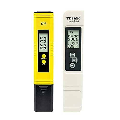 MY99 USHOMI Medidor Digital de pH y TDS Combo de Alta precisión 0.05ph Probador de pH +/- 2% Precisión de Lectura Probador de TDS Probador de Calidad del Agua Blanco