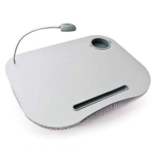 Relaxdays 10012569 Mesa, Soporte para Ordenador portátil, Luces LED y portavasos, Gris, 44x34x5 cm