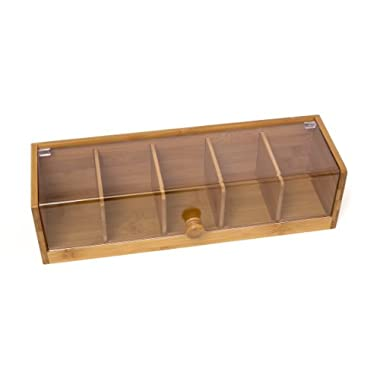 Lipper International 8187 Bamboo Wood and Acrylic Tea Box with 5 Sections, 14  x 5  x 3-3/4