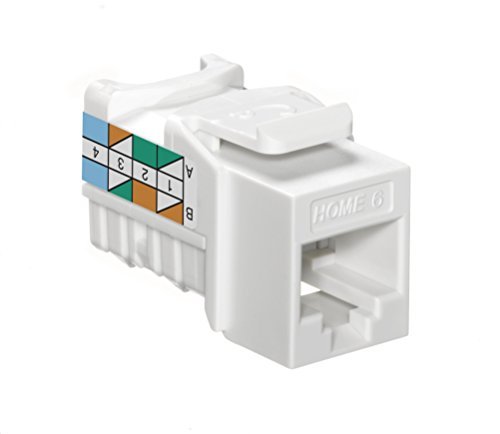 Leviton 61HOM-RW6 Home 6 Snap-In Connector, T568A/B Wiring, White