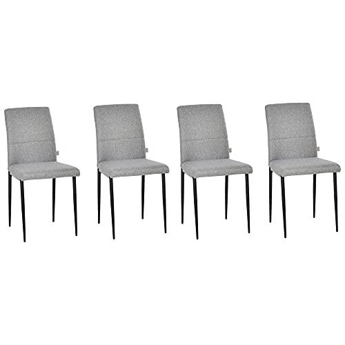 homcom Set di 4 Sedie Imbottite da Salotto Stile Moderno, Rivestimento Tessuto e Gambe in Metallo, 41.5x54.5x87cm, Grigio