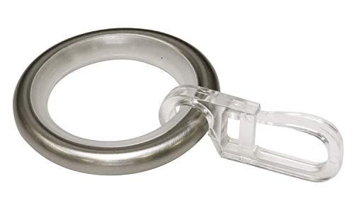 Gardinia Gardinenringe mit Gleiteinlage und Faltenlegehaken, Metall für Ø 16 mm Edelstahl-Optik, 10er Pack, 10, 30095