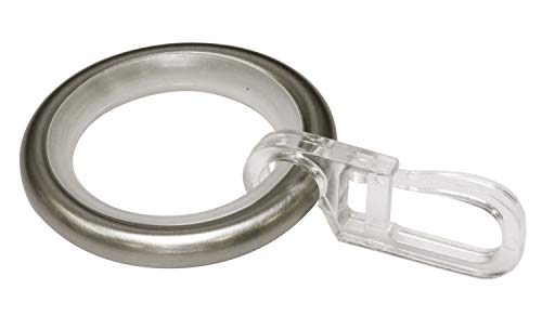 Gardinia Gardinenringe mit Gleiteinlage und Faltenlegehaken, Metall für Ø 16 mm Edelstahl-Optik, 10er Pack, 10