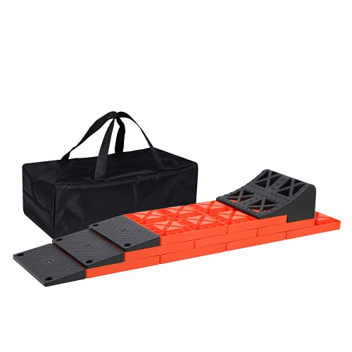 Homeon Wheels RV Leveling Blocks, 2.0 Upgraded Ramp Design, One Top Tire Wheel Chock and 9 Pack Interlocking Leveling Blocks with Carry Bag