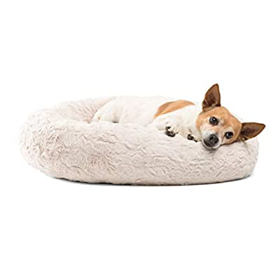 Best Friends by Sheri Lux Fur Donut Cuddler (Multiple Sizes) -Round Donut Cat and Dog Cushion Bed, Orthopedic Relief, Self-Warming and Cozy for Improved Sleep - Prime, Machine Washable, Water-Resistant Bottom