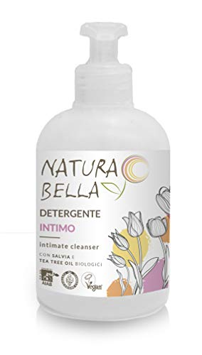 Naturabella Intimate Cleanser with organic extract of Sage and Tea Tree Oil, Vegan Friendly, Dermatology Tested -300ml