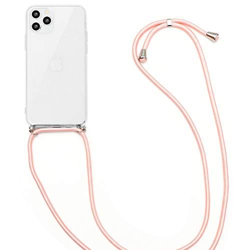 ZhuoFan Handykette Handyhülle mit Band für Wiko View 2 Pro Cover - Handy-Kette Handy Hülle mit Kordel zum Umhängen - Handy Band Halsband Necklace/Halsband Lanyard Hülle,Rosa