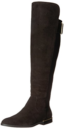 Calvin Klein Women's Priya Over The Knee Boot, Black Suede/Stretch-3, 5.5 Medium US