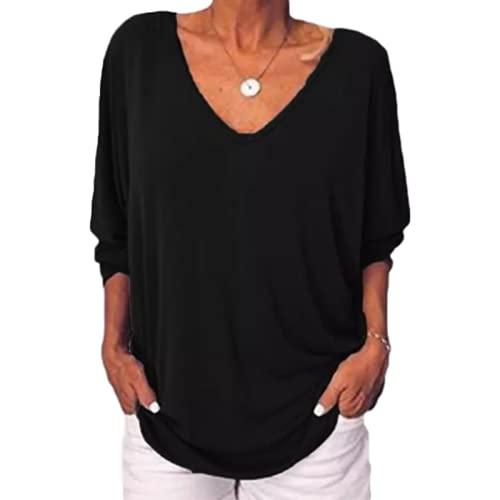 Mujer Cuello en V Pullover Moda Color sólido Simple Diario Ocio Tallas Grandes Camiseta de Manga Tres Cuartos con Botones 4XL